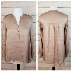 H&M Shimmering Rose Gold Hi-Low Tunic Top Epaulets